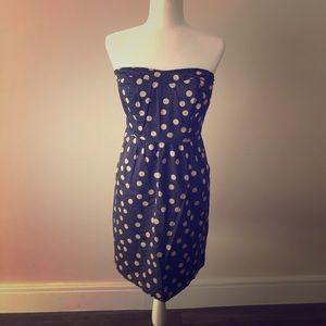 Navy Blue Beige Polka Dot Strapless Dress